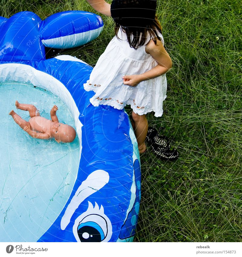 Human being Child Water Vacation & Travel Girl Summer Joy Cold Playing Grass Hair and hairstyles Happy Infancy Swimming & Bathing Arm Skin