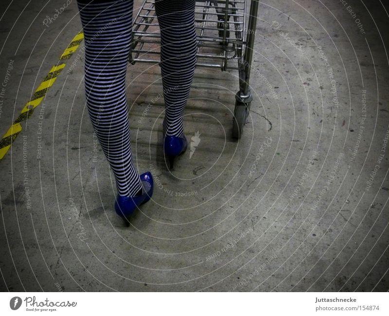 She walks the line Legs Tights Striped socks High heels Shopping Woman Shopping Trolley Stockings Push Household Juttas snail