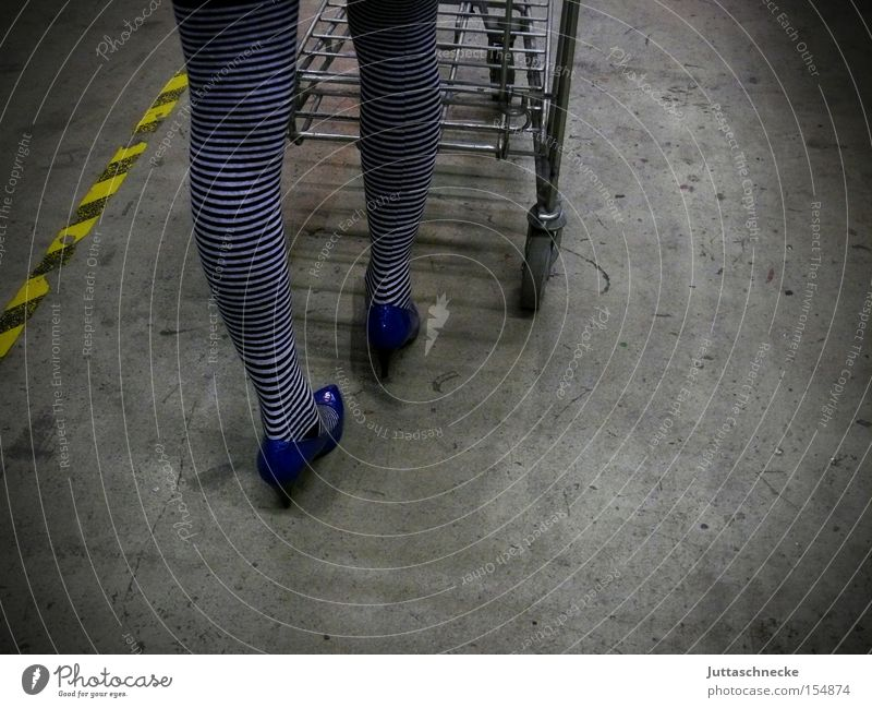 Woman Legs Shopping Stockings Tights Household Striped Shopping Trolley High heels Footwear Push Striped socks
