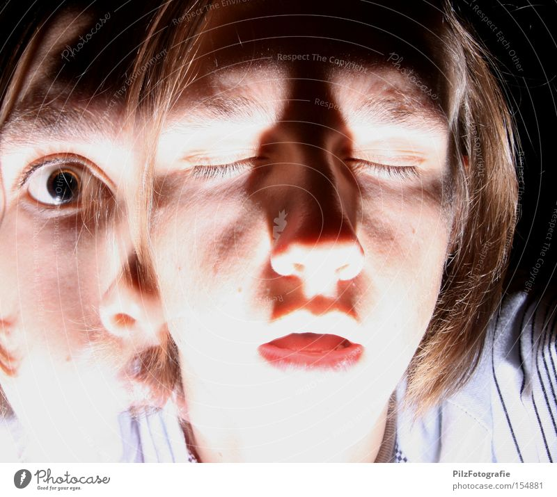Youth (Young adults) Face Eyes Fear Crazy Good Illness Division Evil Panic Double exposure Character Schizophrenia