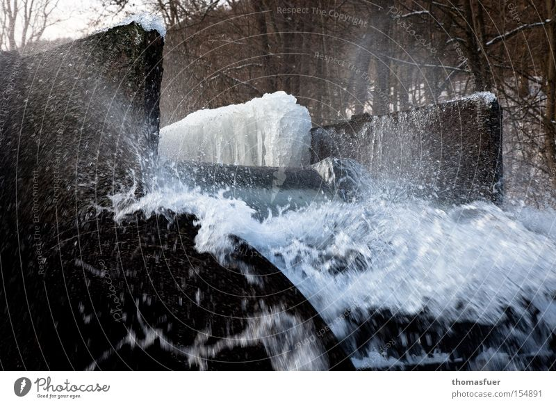 hydropower Hydroelectric  power plant Water Water wheel Ice Dynamics Electricity Cold Winter Industry
