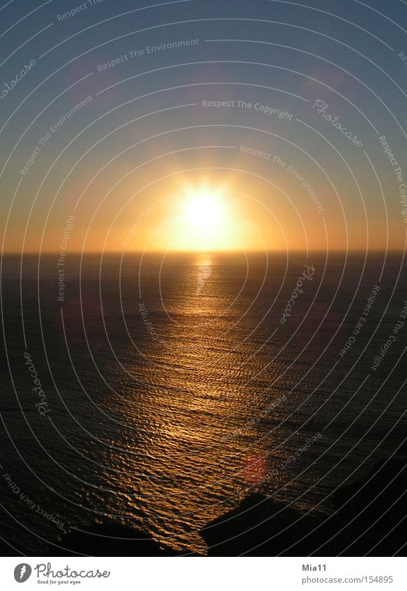 the downfall Summer Sun Ocean Water Nature Sunset Celestial bodies and the universe Evening Twilight Light