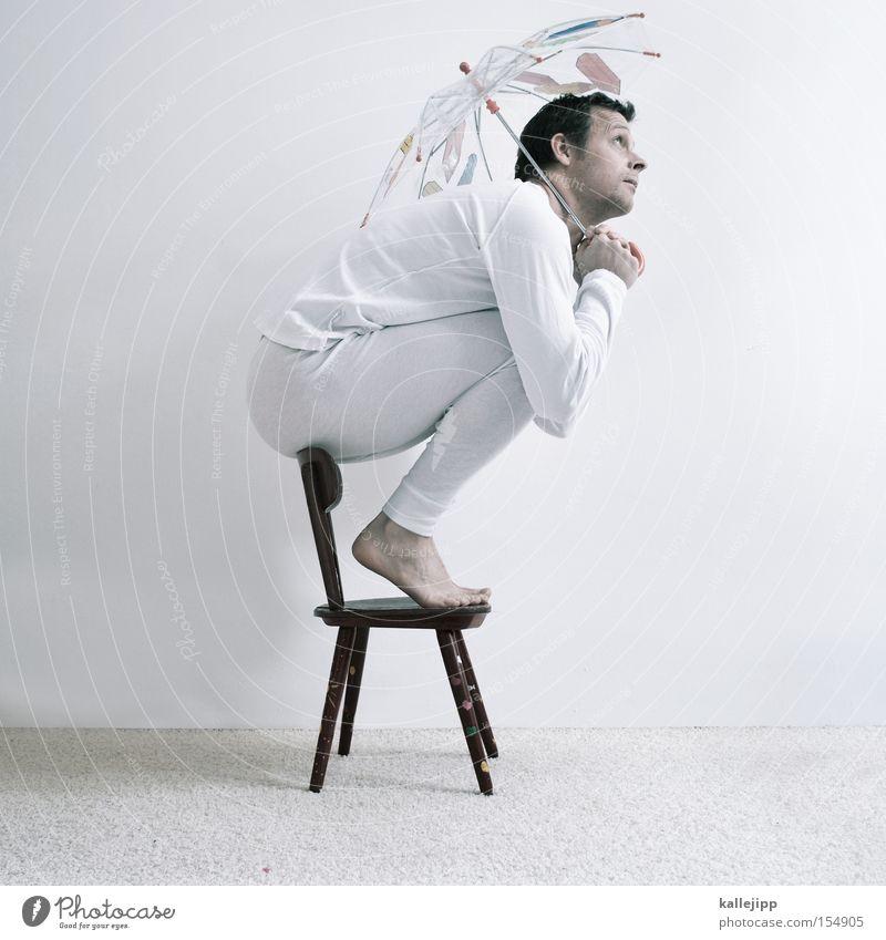 Human being Man White Rain Fear Small Sit Chair Protection Clean Umbrella Underwear Crouch High chair