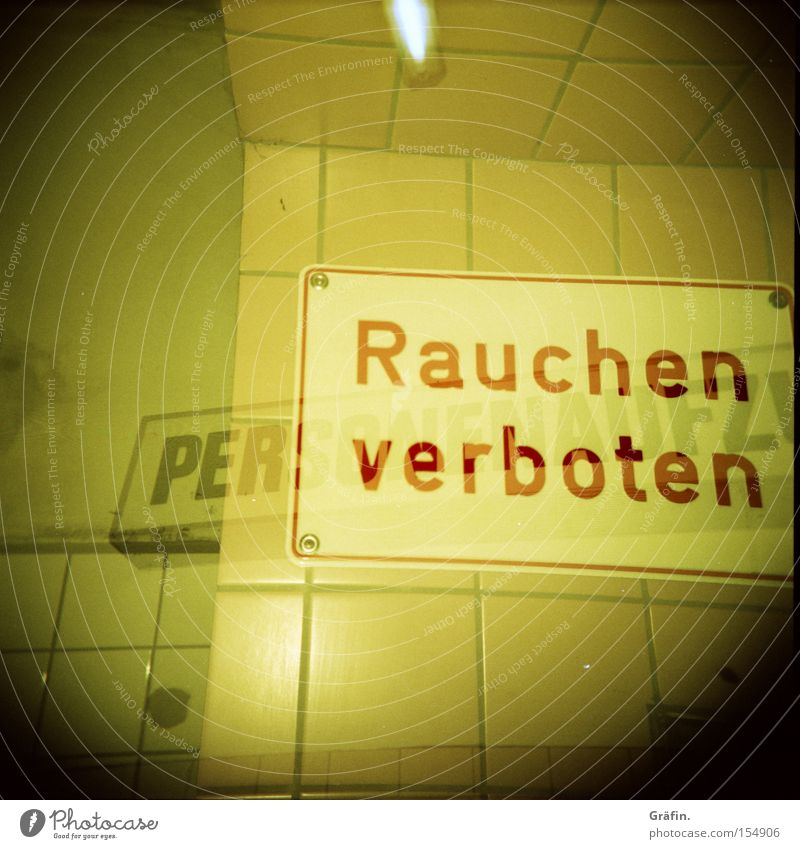 Yellow Wall (building) Signs and labeling Letters (alphabet) Signage Tile Holga Double exposure Warning label Neon light Medium format 2 Superimposed St Pauli-Elbtunnel