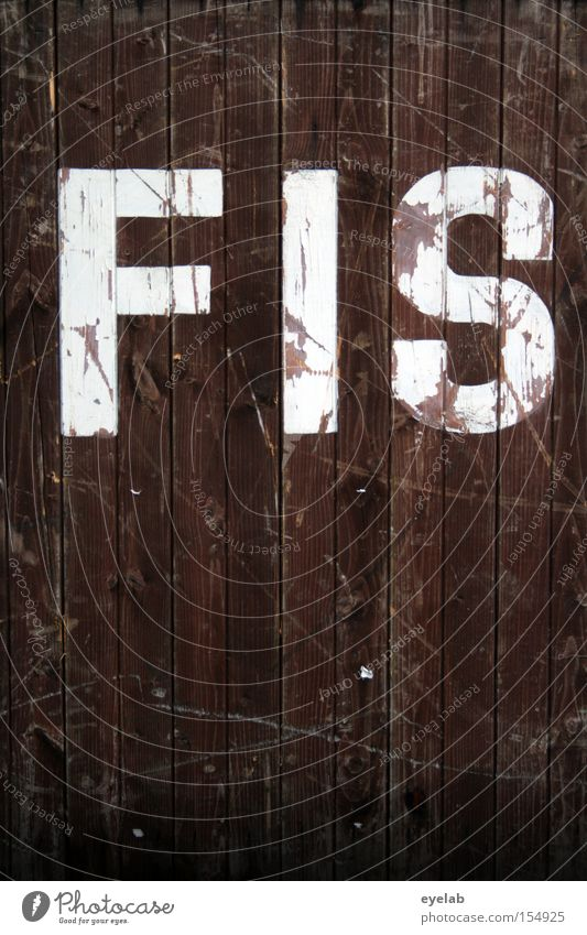 FIS minor Wood Wall (building) Scratch mark Smear Wooden wall Letters (alphabet) Typography Word Detail Characters Communicate syllable White Brown Old