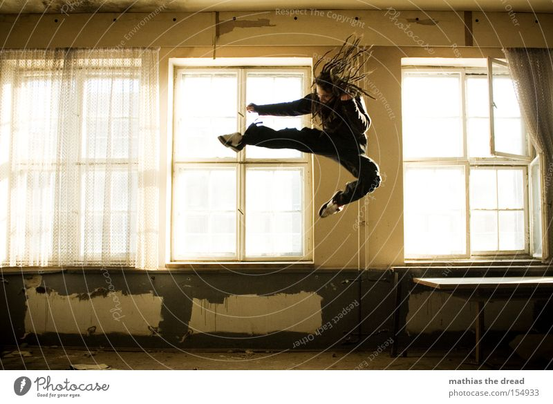 kung fu fighting Jump Kick Fight Chinese martial art Tread Karate Action Tension Tall Dangerous Attack Flying Fighter Room Window Sunlight Derelict Martial arts