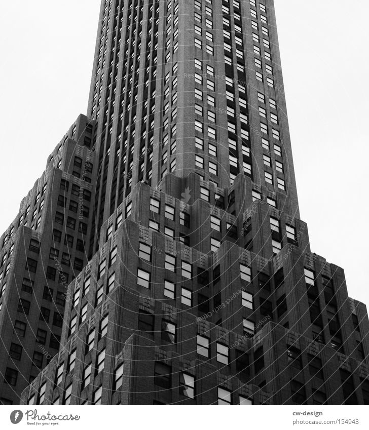 FAMOUS BUILDING Rockefeller Center High-rise New York City Window Art deco Town Black & white photo Office building Stairs Americas Landmark Modern