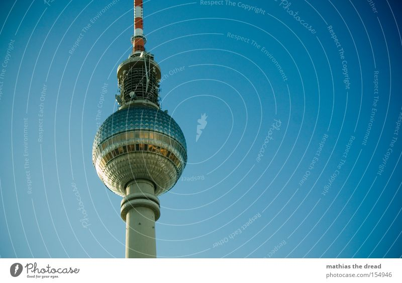 Sky Blue Beautiful Berlin Tall Tower Idyll Sphere Monument Landmark Mystic Downtown Berlin Berlin TV Tower Television tower Alexanderplatz Transmitting station