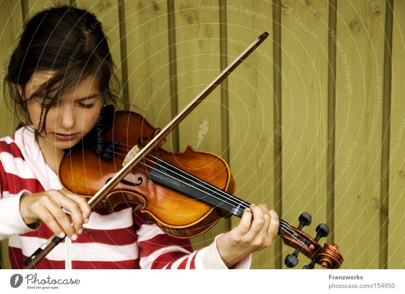 Child Girl Music Education Concert Side Musical notes Musical instrument Violin Practice Classical Make music String instrument Violin bow