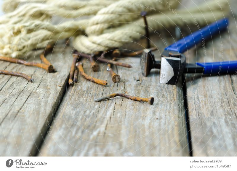 Pliers and twine on a plank Work and employment Industry Tool Rope Wood Metal Steel Rust Old Build Dirty Retro Power Hope background Bent board Cutter Knife