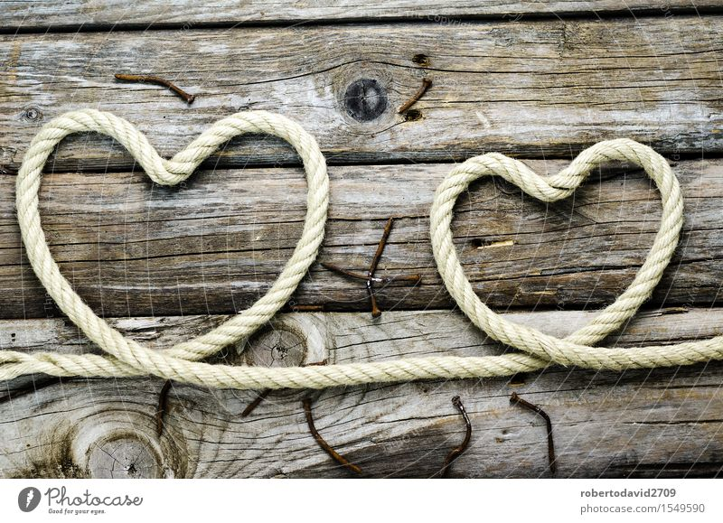 heart of rope on the old board Old Beautiful White Love Emotions Natural Happy Feasts & Celebrations Couple Line Creativity Heart Retro Romance Rope String