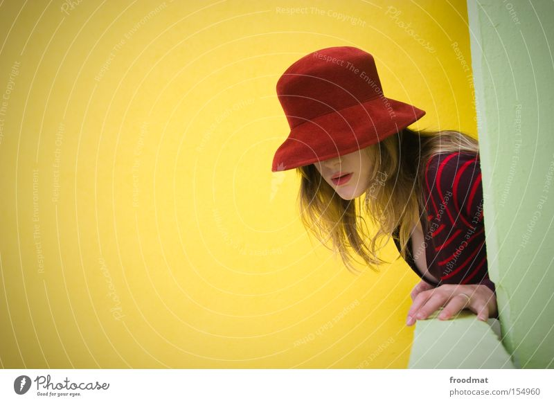 red hat Retro Hat Nostalgia Modern Style Woman Beautiful Cool (slang) GDR Wall (building) Balcony Posture Contrast Fashion