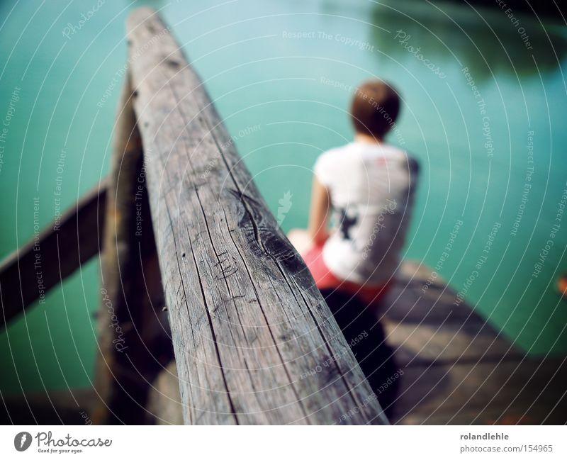 Woman Water Summer Wood Lake Think Sit T-shirt Longing Footbridge Handrail Hot pants Lake Baggersee