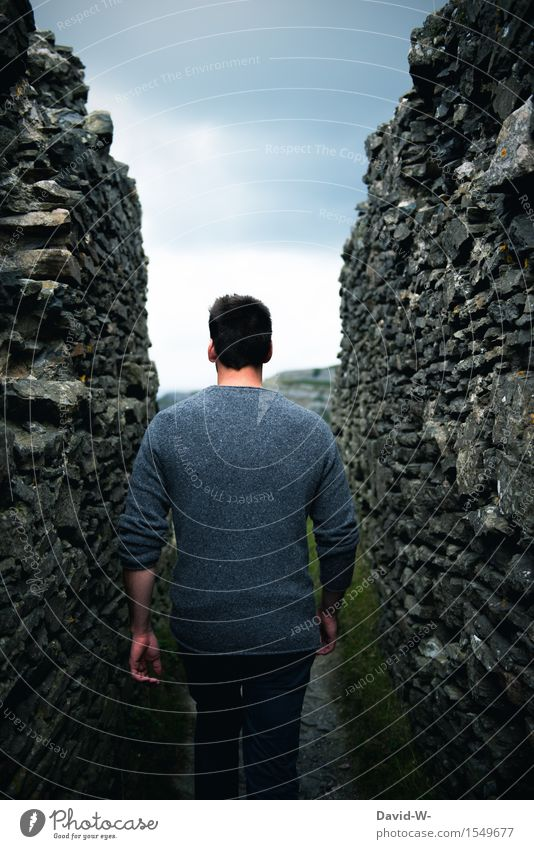 Human being Nature Vacation & Travel Youth (Young adults) Man Young man Landscape Clouds 18 - 30 years Adults Environment Wall (building) Life Lifestyle Wall (barrier) Freedom