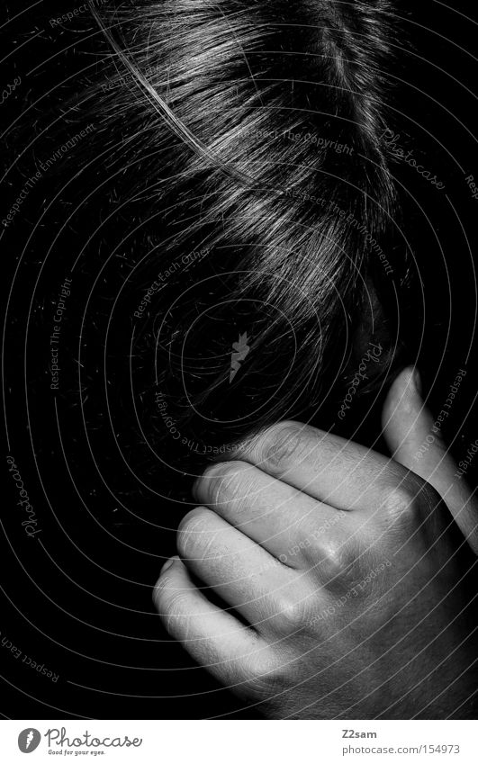 Powerless Human being Obstinate Man Hand Black & white photo Glittering Think Hide Classic Lifeless Grief Distress Hair and hairstyles To hold on Head ponder