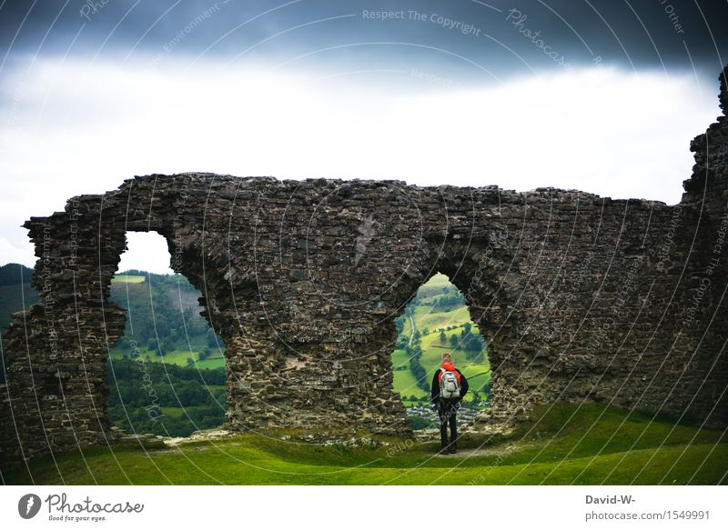 Walls from bygone times Vacation & Travel Tourism Trip Adventure Far-off places Freedom Expedition Hiking Human being Masculine Young man Youth (Young adults)