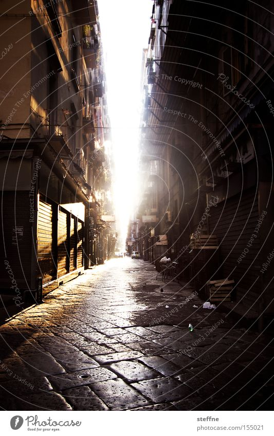 Good morning! Good morning! Italy Naples Back-light Morning Sun Sunrise Street Loneliness Wake up Arise Traffic infrastructure Beautiful