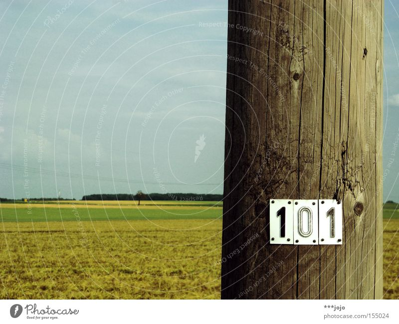 hundred, or: fully counted. Electricity pylon Telegraph pole Field Wood Agriculture Typography Digits and numbers Landscape Signs and labeling 100 Flat rural