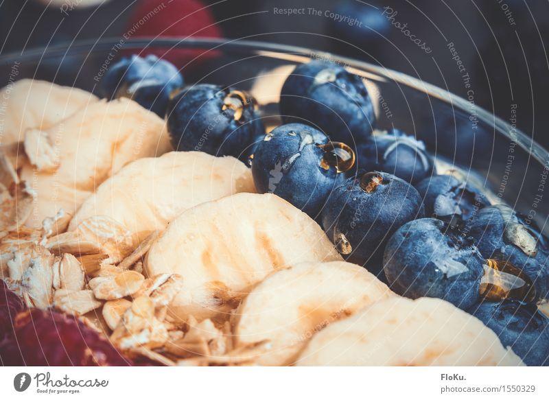 Muesli, fruit and honey Food Fruit Grain Nutrition Breakfast Fresh Delicious Sweet Blue Yellow Fitness Blueberry Banana Cereal Oat flakes Honey Glass Bowl