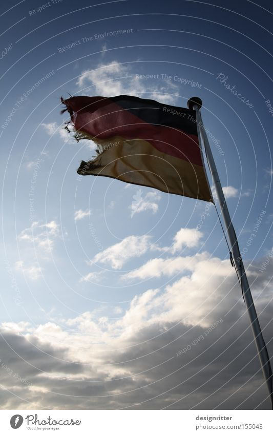 Fear Germany Wind Weather Flag Broken Transience Gale Federal eagle German Flag Rescue Go under Crisis Fear of the future Financial Crisis Economic crisis