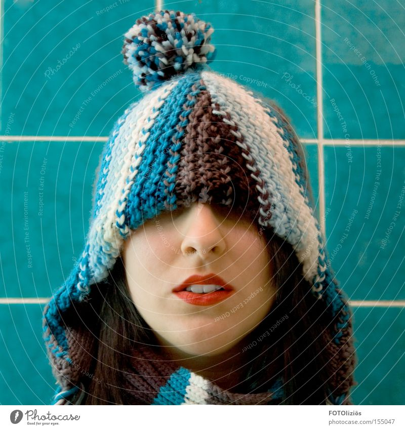 Human being Woman Blue Red Winter Cold Adults Face Bathroom Teeth Lips Cap Tile Trashy Lipstick Concealed