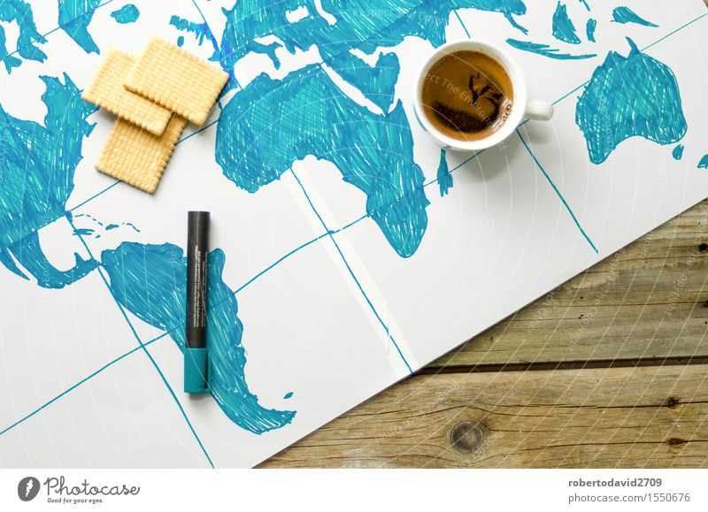 Map of the world drawn by hand on paper Vacation & Travel Ocean Wood Art Business Above Earth Modern Retro Coffee Symbols and metaphors Science & Research Story