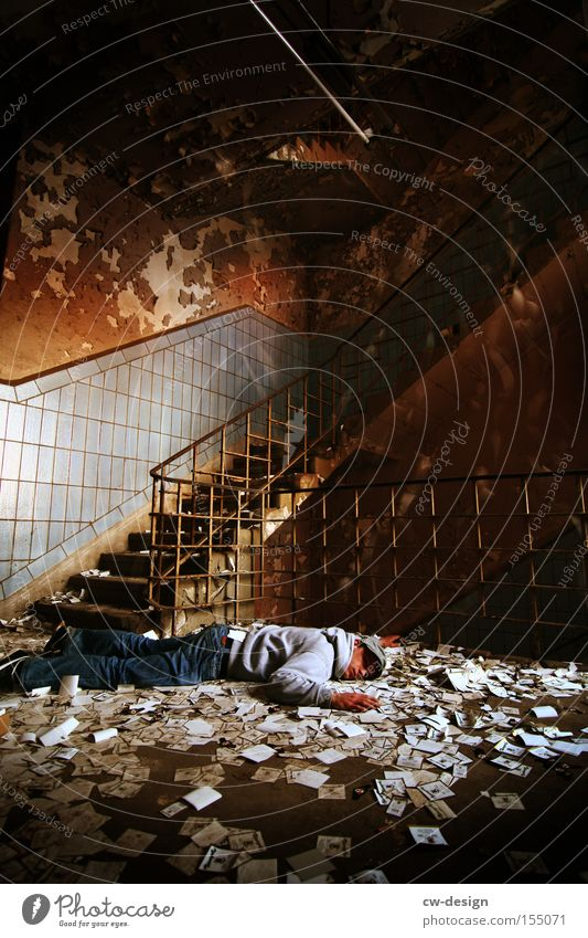 550th - CHILLEN Relaxation Lie Dream Staircase (Hallway) Floor covering Ground Sleep Boredom Lack of sleep Burnt out Old Derelict Chaos Accident Feeble
