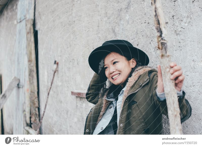 Human being Youth (Young adults) Young woman 18 - 30 years Adults Life Autumn Movement Feminine Laughter 13 - 18 years Wind Happiness Joie de vivre (Vitality)