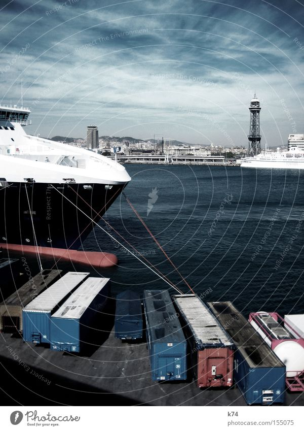 Ocean Watercraft Rope Logistics Harbour To hold on Jetty Trade Barcelona Container Goods Pirate Cruise Bow Drop anchor