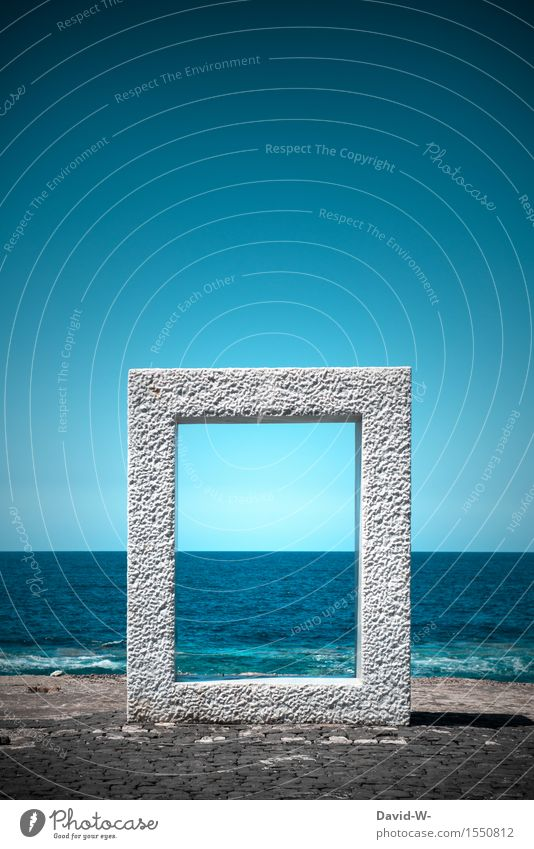 Gateway to the water world Art Exhibition Work of art Culture Tunnel Door Fluid Large Maritime Surrealism Dream Traverse Turquoise Surface of water Ocean