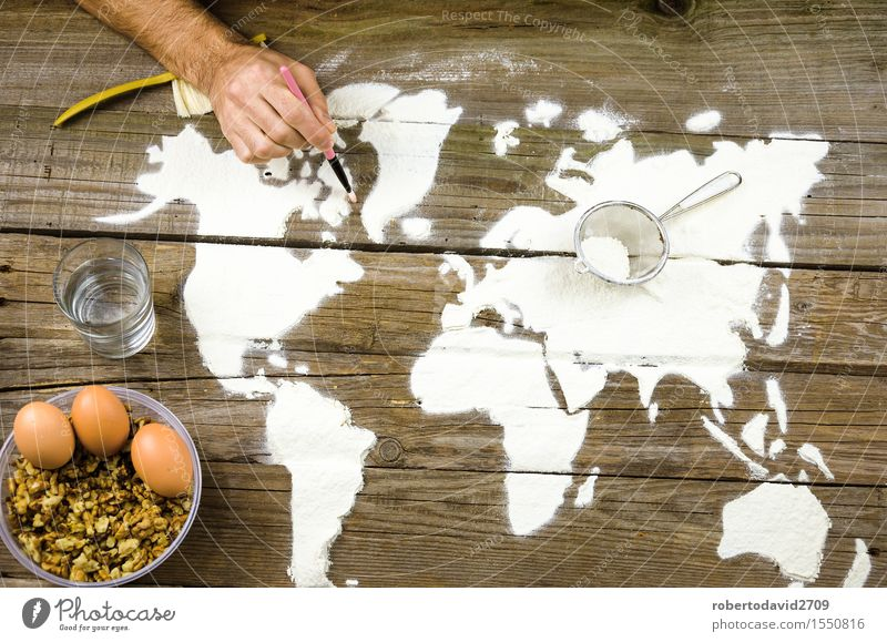 Drawing maps of the world with flour Bread Leisure and hobbies Vacation & Travel Decoration Cook Craft (trade) Business Hand Art Elements Earth Love Make Above