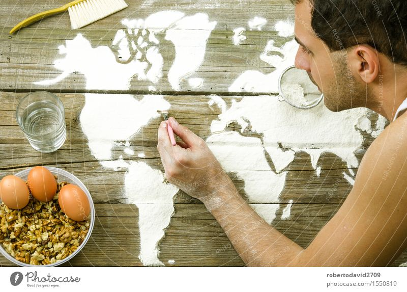 Drawing maps of the world with flour Dough Baked goods Bread Leisure and hobbies Vacation & Travel Decoration Cook Craft (trade) Business Hand Art Elements