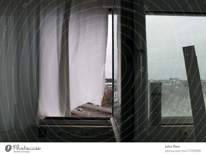 City White House (Residential Structure) Window Movement Gray Car Transport High-rise Vantage point Change Window pane Vehicle Drape View from a window