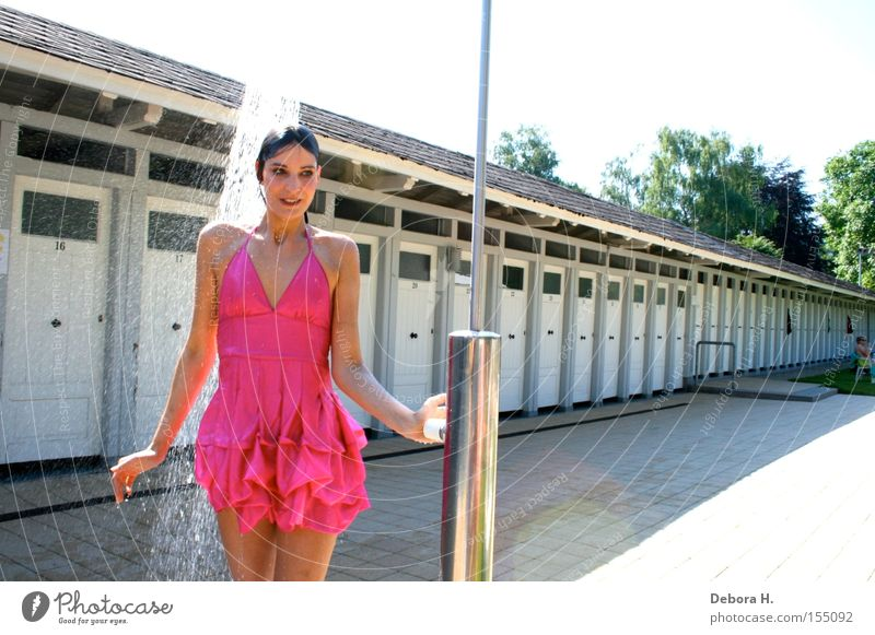 Woman Water Summer Joy Rain Pink Wet Dress Clothing Shower (Installation) Beach shower Take a shower