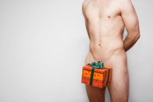 gift idea Gift Donate Christmas & Advent Gift wrapping Man Naked Upper body Package Box up Packaged Body Bow Nude photography Valentine's Day Male nude