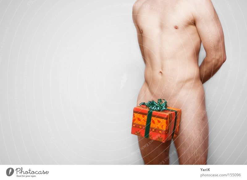 Nude photography Man Christmas & Advent Naked Body Gift Feasts & Celebrations Upper body Human being Bow Package Packaging Valentine's Day Packaged Donate