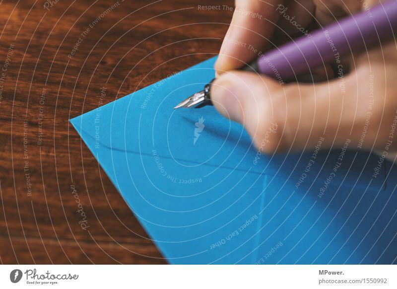 letter 3 Wood Thin Letter (Mail) Write Hand Handwriting Sender Card Table Love letter Blue Fountain pen Pen Communicate Email Envelope (Mail) Register