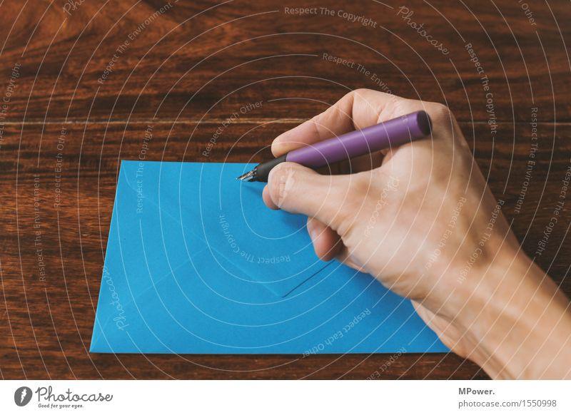 letter 1 Wood Thin Letter (Mail) Write Hand Handwriting Sender Card Table Love letter Blue Fountain pen Pen Communicate Email Envelope (Mail) Register
