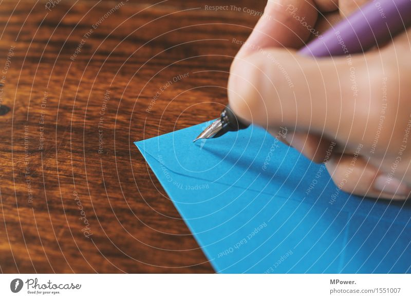 letter 2 Wood Thin Letter (Mail) Write Hand Handwriting Sender Card Table Love letter Blue Fountain pen Pen Communicate Email Envelope (Mail) Register