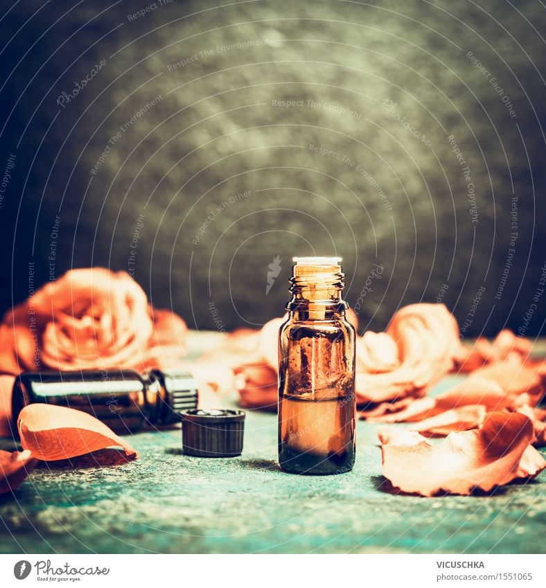 Essential oil in bottle with rose petals Design Alternative medicine Wellness Well-being Senses Relaxation Meditation Fragrance Cure Spa Massage Table Nature