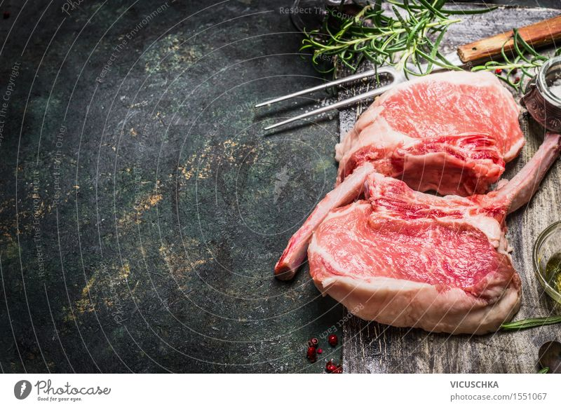 Pork chops for grill. Porco Iberico Racks Food Meat Herbs and spices Nutrition Dinner Fork Design Table Kitchen Restaurant Barbecue (apparatus) Pink Style