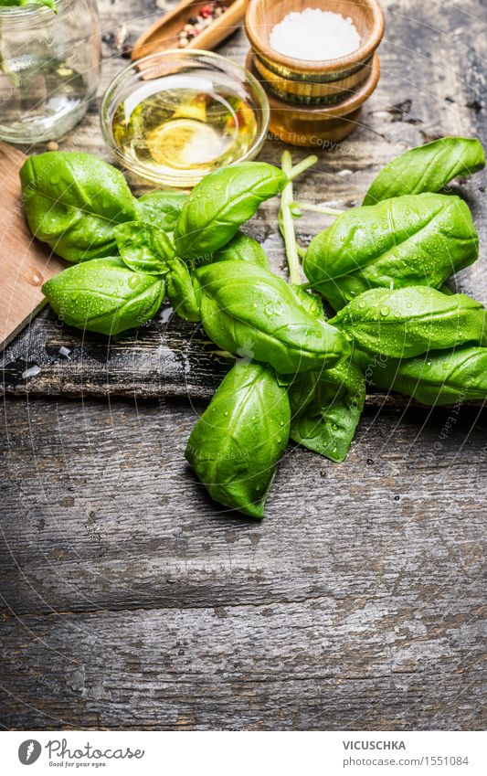 Fresh basil leaves with olive oil and salt Food Lettuce Salad Herbs and spices Nutrition Lunch Organic produce Vegetarian diet Diet Italian Food Bowl Style