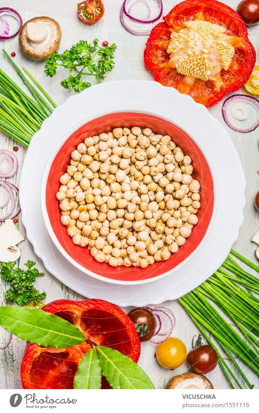Chickpeas with vegetables and spices Food Vegetable Grain Herbs and spices Nutrition Lunch Dinner Buffet Brunch Banquet Organic produce Vegetarian diet Diet