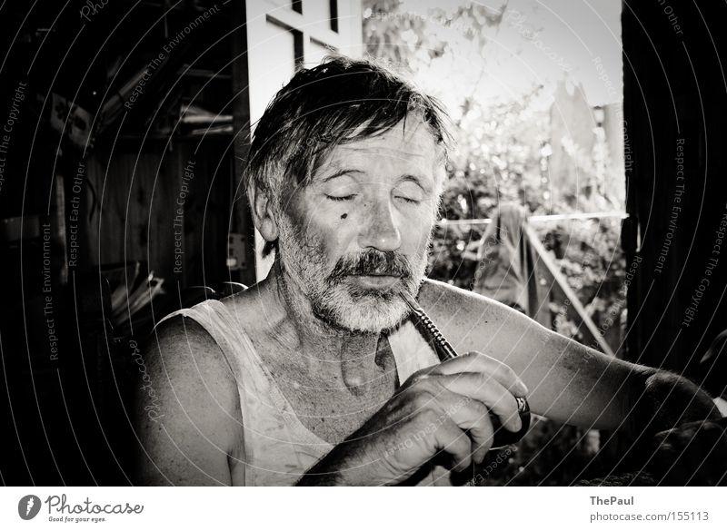 Man Old Calm Relaxation Senior citizen Tea Serene Human being Black & white photo Portrait photograph Food