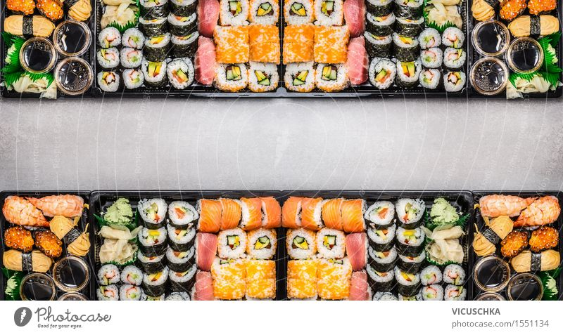 Sushi assortment in plastic boxes Food Fish Nutrition Lunch Banquet Asian Food Style Design Table Event Restaurant Eating Sauce Shrimps Wasabi Website Rice