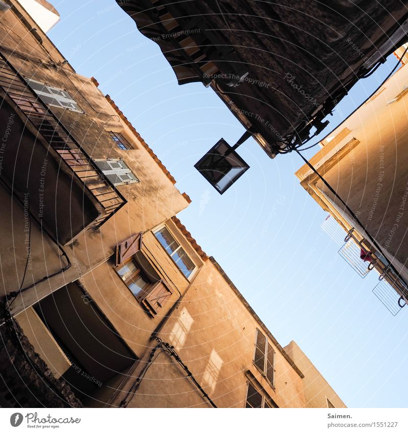 UrbanFrogArt I Village Small Town Old town House (Residential Structure) Building Wall (barrier) Wall (building) Facade Balcony Dirty Blue Brown Vacation mood