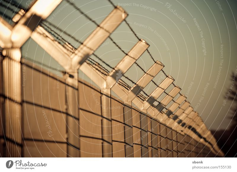Safety first Fold Fence Barred Bronze Metal Barrier Closed Defensive Barbed wire no entry no access