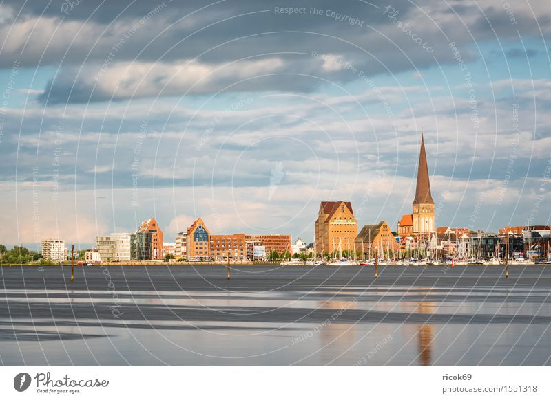 View over the Warnow to Rostock. Vacation & Travel Tourism House (Residential Structure) Nature Landscape Water Clouds River Town Building Architecture