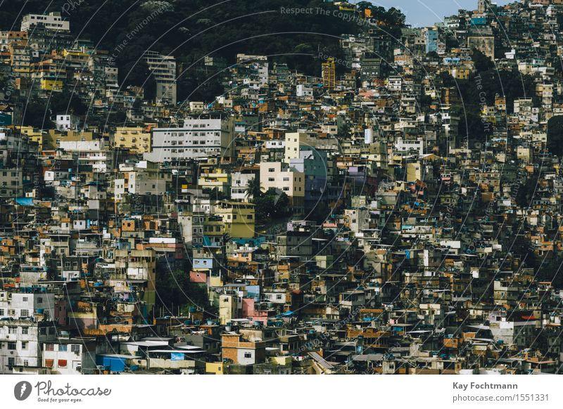 Facela Rocinha in Rio de Janeiro, Brazil Exterior shot Colour photo Poverty House (Residential Structure) Town Overpopulated Populated Slum area