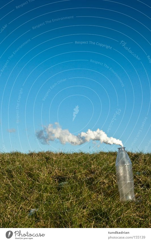 smoke sign Bottle Exhaust gas Blue Green Sky Meadow Smoke